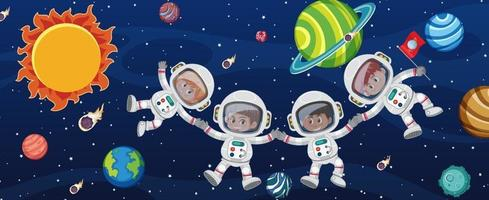 Many astronauts in the galaxy background vector