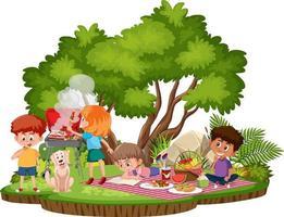 picnic de personas en el parque aislado vector