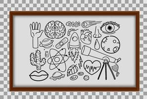Different doodle strokes about science equipment in wooden frame on transparent background vector