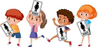 Set of different kid holding toilet sign isolated on white background
