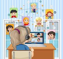 Vista posterior de la niña mirando la computadora para una videoconferencia con amigos vector