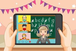 Hands holding smartphone with teacher and student on smartphone screen vector