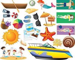 Conjunto de estilo de dibujos animados de icono de playa de verano sobre fondo blanco vector
