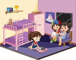 Chicas en el dormitorio en escena temática rosa sobre fondo blanco. vector