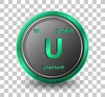 Uranium chemical element. Chemical symbol with atomic number and atomic mass. vector