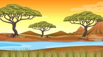 fondo de paisaje de bosque africano vector