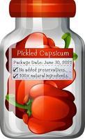 Capsicum preserve in glass jar