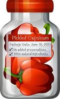 Capsicum preserve in glass jar vector