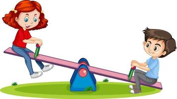 Cartoon character boy and girl playing seesaw on white background vector