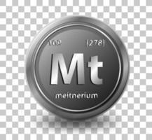 elemento químico meitnerio. símbolo químico con número atómico y masa atómica. vector