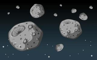 A lot of stone meteorite in the galaxy background vector