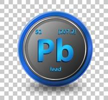 Lead chemical element. Chemical symbol with atomic number and atomic mass. vector