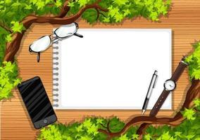 Vista superior de la mesa de madera con objetos de oficina y elemento de hojas. vector