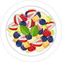 Fruit salad on plate isolated vector