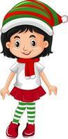 lindo personaje de dibujos animados de niña de navidad vector