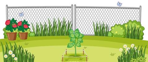 escena de jardín de plantas al aire libre vector