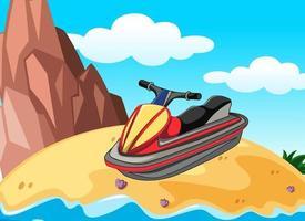 escena de la isla con una moto de agua. vector