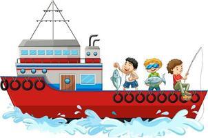 Los niños pescando desde un barco aislado sobre fondo blanco. vector