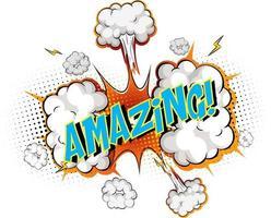 palabra increíble sobre fondo de explosión de nube cómica vector