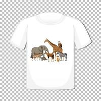 Wild animal group design on t-shirt isolated on transparent background vector
