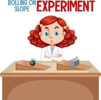 científico que explica el experimento de rodar en pendiente vector
