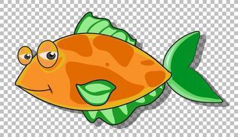 un personaje de dibujos animados de pescado aislado sobre fondo transparente vector