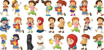 niños haciendo diferentes actividades conjunto de personajes de dibujos animados vector