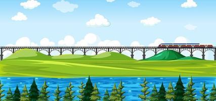 parque natural de la ciudad con tren en la escena del paisaje del horizonte vector