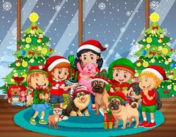 Christmas indoor scene with many children and cute dogs vector