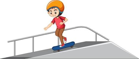 Boy wearing helmet playing skatboard on the ramp on white background