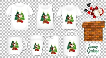 Santa Claus dancing cartoon character with set of different clothes and accessories products on transparent background vector