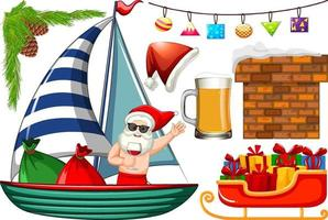 Set of isolated objects of christmas summer theme vector