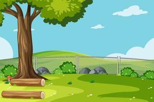 Escena del parque vacío con árboles y arbustos. vector