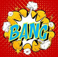 Word Bang on comic cloud explosion background