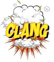 Word Clang on comic cloud explosion background