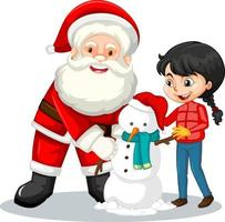 Santa Claus with girl creating snowman on white background vector
