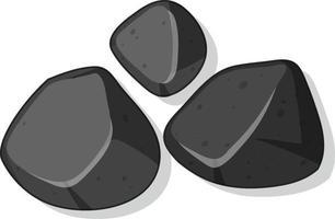 Set of black stones isolated on white background