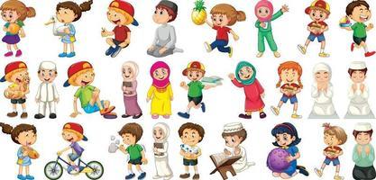 Children doing different activities cartoon character set vector