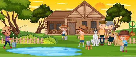 People fishing in nature landscape vector