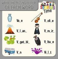 escribir la letra que falta en cada hoja de trabajo para niños