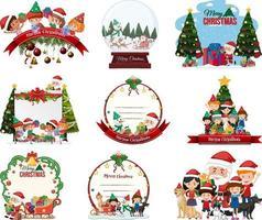 Set of blank Christmas postcard and logo isolated vector