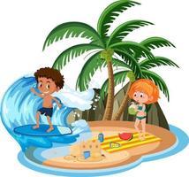 niños en la isla aislados vector