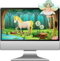 monitor de computadora con hadas yc en pantalla vector