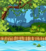 Escena del parque vacío con muchos árboles y pantano. vector