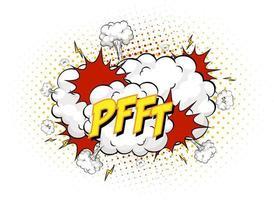 Texto pfft en explosión de nube cómica aislado sobre fondo blanco. vector