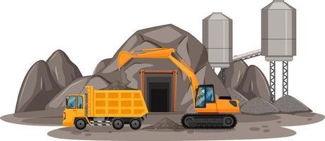 Escena de minería de carbón con diferentes tipos de camiones de construcción. vector