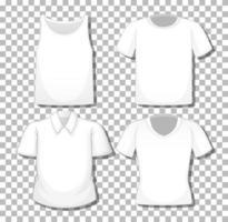 Conjunto de diferentes camisas blancas aislado sobre fondo blanco. vector