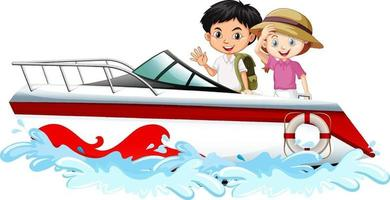 Los niños de pie en una lancha rápida sobre fondo blanco. vector