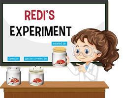 científico explicando el experimento de redi vector