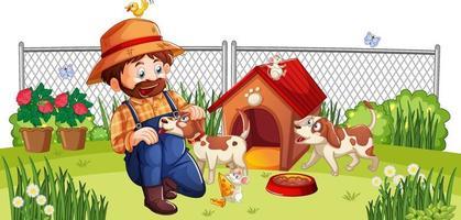 hombre feliz con perro en el patio vector